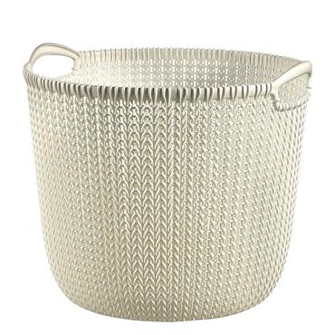 Curver Knit Round Laundry Hamper Basket - Oasis White | CUR229272