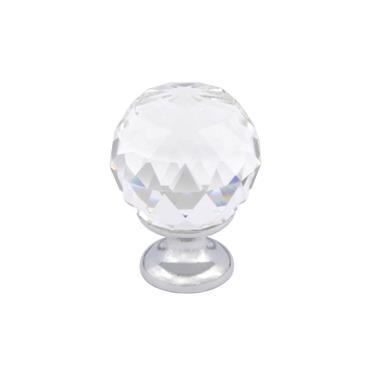 Crystal kitchen cabinet drawer knob with chrome base - 30mm | 0200068