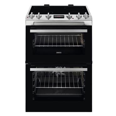 Zanussi 60cm Double Oven Ceramic Top Electric Cooker Stainless Steel | ZCV66250XA
