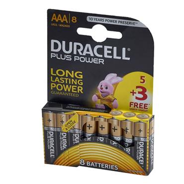 Duracell Plus Power AAA Batteries (Pack 5 + 3 Free) | XMS19BATAAA8