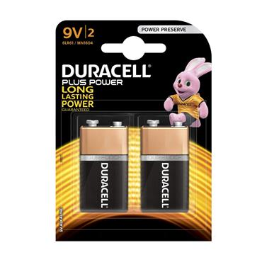 Duracell Plus Power 9V Batteries (Twin Pack) | XMS19BAT9V2