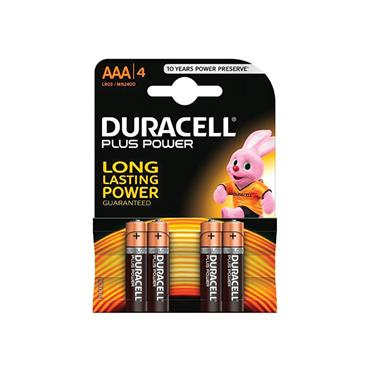 DURACELL PLUS POWER BATTERY AAA 4 PACK
