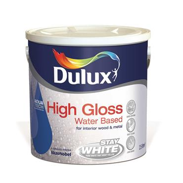 Dulux 2.5 Litre High Gloss Water Based - Brillant White |