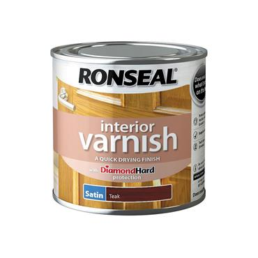 Ronseal 250ml Quick Drying Interior Satin Varnish - Teak | 36827