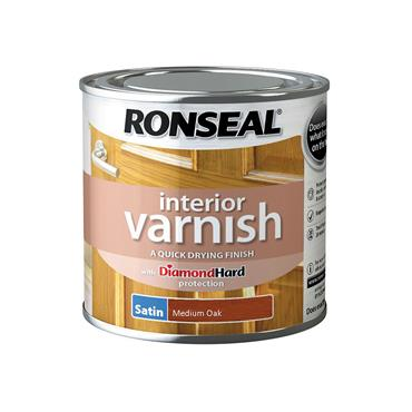 Ronseal 250ml Quick Drying Interior Satin Varnish - Medium Oak | 36824