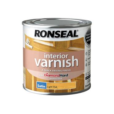 Ronseal 250ml Quick Drying Interior Satin Varnish - Light Oak | 36821