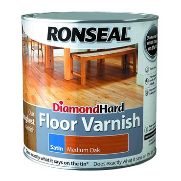 Ronseal 2.5 Litre Diamond Hard Satin Floor Varnish - Medium Oak | 33426
