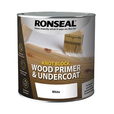 Ronseal 750ml Wood Knot Block Primer & Undercoat - White | 36481