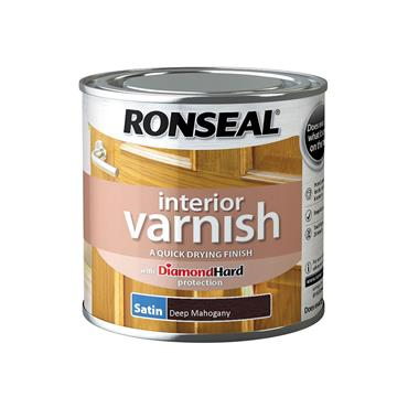 Ronseal 250ml Quick Drying Interior Satin Varnish - Deep Mahogany | 36828