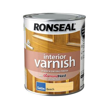 Ronseal 750ml Quick Drying Satin Varnish - Beech | 36832