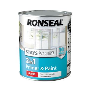 Ronseal 750ml 2 in 1 Stay White Gloss Paint & Primer - White | 37510