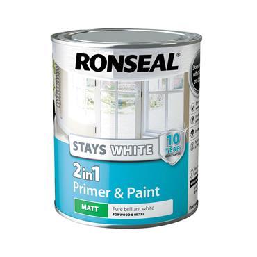 Ronseal 750ml 2 in 1 Stay White Matt Paint & Primer - White | 37514