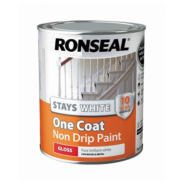 Ronseal 750ml Stays White One Coat Gloss Paint - White | 37516