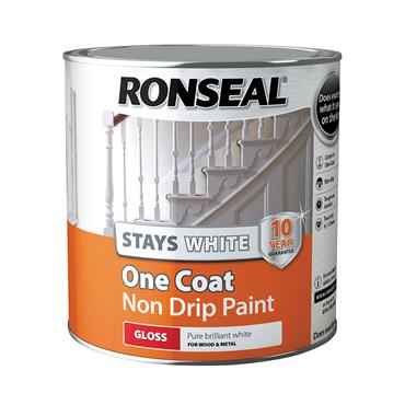 Ronseal 2.5 Litre Stays White One Coat Gloss Paint - White | 37517