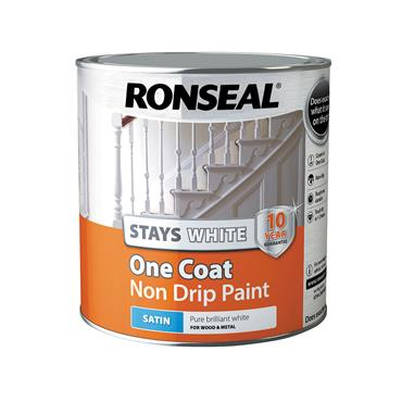 Ronseal 2.5 Litre Stays White One Coat Satin Paint - White | 37519
