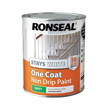 Ronseal 750ml Stays White One Coat Matt Paint - White | 37520