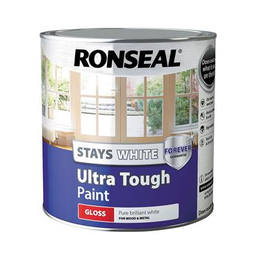 Ronseal 2.5 Litre Stays White Ultra Tough Gloss Paint - White | 37523
