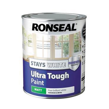 Ronseal 750ml Stays White Ultra Tough Matt Paint - White | 37526