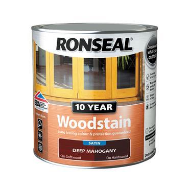 Ronseal 750ml 10 Year Exterior Satin Woodstain - Deep Mahogany | 38675