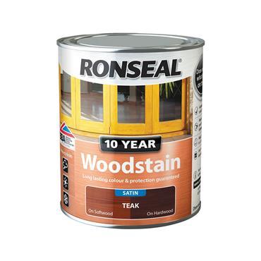 Ronseal 750ml 10 Year Exterior Satin Woodstain - Teak | 38681