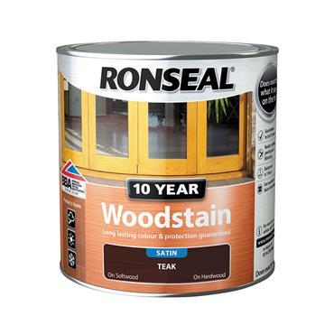 Ronseal 2.5 Litre 10 Year Exterior Satin Woodstain - Teak | 38692
