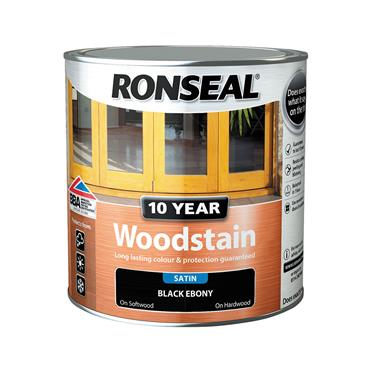 Ronseal 2.5 Litre 10 Year Exterior Satin Woodstain - Ebony | 38695