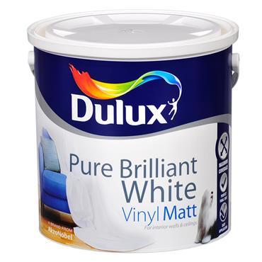 Dulux 2.5 Litre Vinyl Matt - Brillant White | 5084559