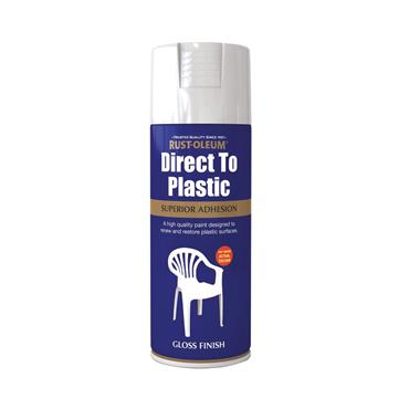 Rustoleum Direct to Plastic Spray Paint 400ml Gloss White | PTOU051