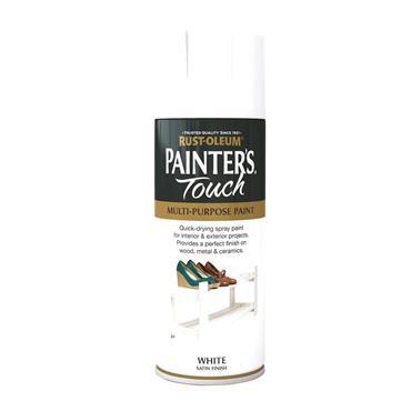 Rustoleum Painters Touch Multi-Purpose Spray Paint 400ml - Satin White   PTOU090