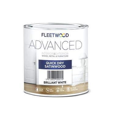 Fleetwood 1 Litre Advanced Quick Drying Satinwood - White   STA01BW