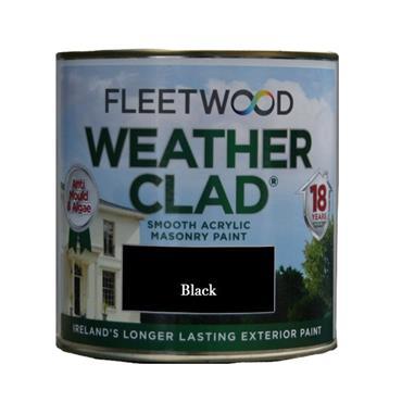 Fleetwood 1 Litre Weatherclad Masonry Paint - Black   XWC01BL