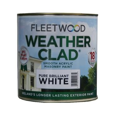 Fleetwood 1 Litre Weatherclad Masonry Paint - Brillant White   XWC01BW