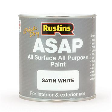 Rustins 1 Litre ASAP All Surface All Purpose Paint - Satin White | R480128