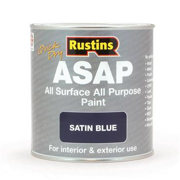 Rustins 1 Litre ASAP All Surface All Purpose Paint - Satin Blue | R480116