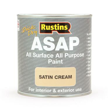 Rustins 1 Litre ASAP All Surface All Purpose Paint - Satin Cream | R480119