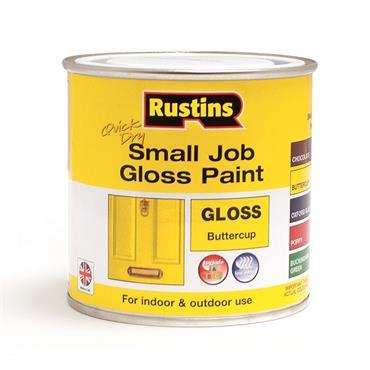 Rustins 250ml Quick Dry Small Job Gloss Paint - Buttercup   R690264