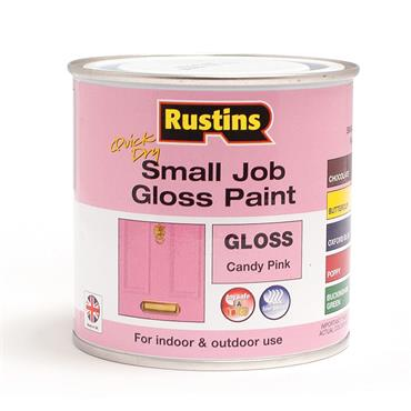 Rustins 250ml Quick Dry Small Job Gloss Paint - Candy Pink | R690271