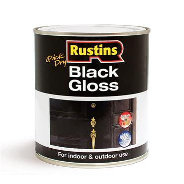 Rustins 500ml Gloss Wood & Metal Paint - Black | R900052