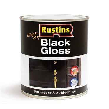 Rustins 1 Litre Gloss Wood & Metal Paint - Black | R900053