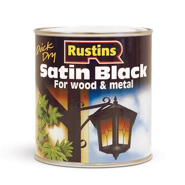 Rustins 500ml Satin Wood & Metal Paint - Black   R900002