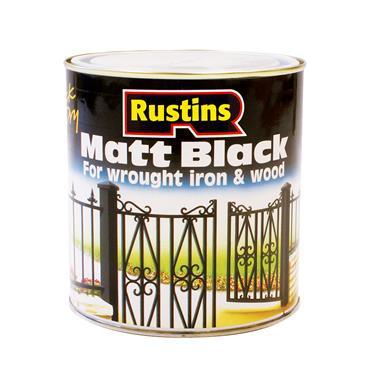 Rustins 500ml Matt Wood & Metal Paint - Black   R900010