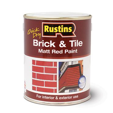 Rustins 1 Litre Quick Dry Brick & Tile Matt Red Paint | R110019