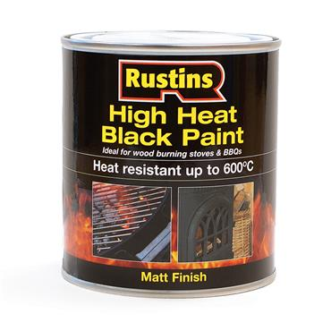 Rustins 500ml High Heat Paint for Stoves & BBQs - Matt Black | R800107