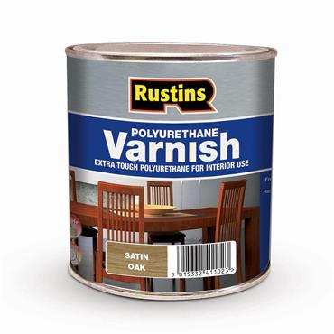 Rustins 1 Litre Polyurethane Satin Varnish - Oak   R436017