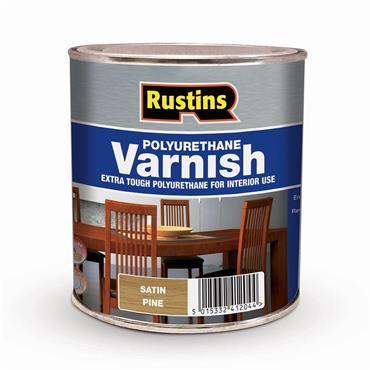 Rustins 1 Litre Polyurethane Satin Varnish - Pine   R436016