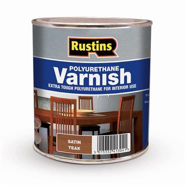 Rustins 500ml Polyurethane Satin Varnish - Teak | R436004