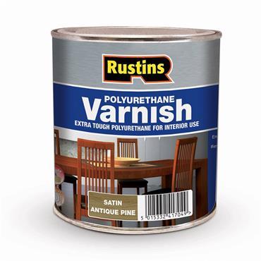 Rustins 250ml Polyurethane Satin Varnish - Antique Pine | R436023