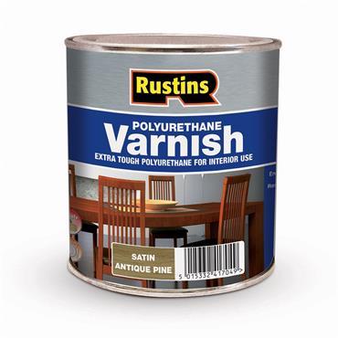 Rustins 1 Litre Polyurethane Satin Varnish - Antique Pine   R436025
