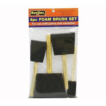 Rustins Foam Paint Brush Set Wooden Handle 4 Piece Set   R120004