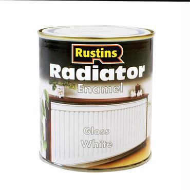 Rustins 500ml Radiator Enamel Paint - Gloss White   R700002